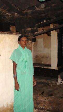 Amidst ruins and tears: Sarojamma, Hiresindhogi. (Pic: SH)