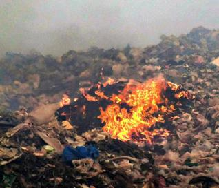 Fire break-out at Mandur landfill.