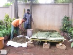 Dip the food and garden waste into the slurry so that all sides get coated with it. If not, sprinkle sufficient amount of slurry on the waste uniformly and turn it a bit using a rake.