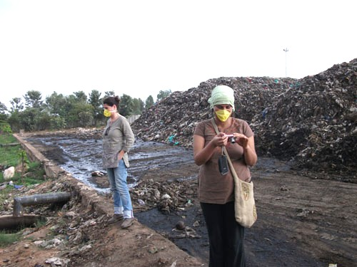 A file photo of an inspection of the Mavallipura landfill leachate drain by the Solid Waste Management Round Table members.