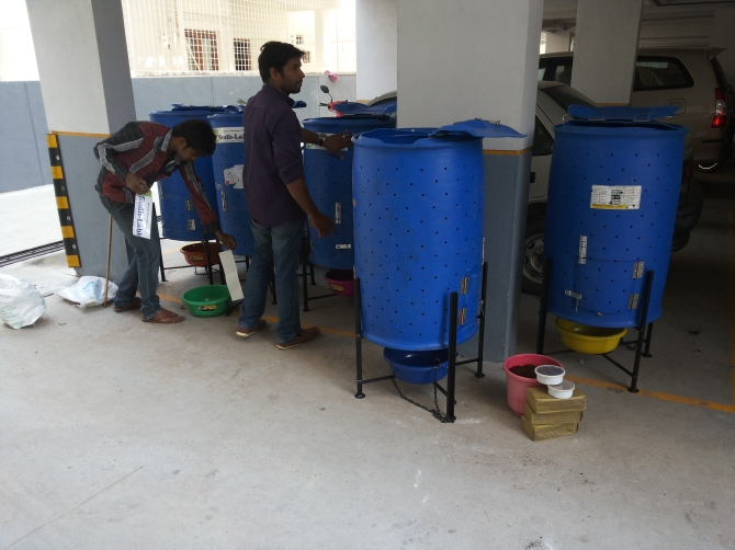 Five Barrel digesters being installed at Mars Meadows, Rajarajeshwari Nagar. This apartment has 55 homes.