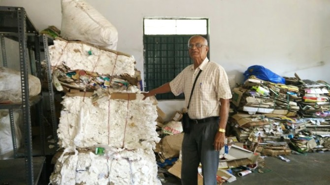 Senior activist N S Ramakanth of Solid Waste Management Round Table (SWMRT) at the Yelahanka dry waste collection centre, Ward 2.