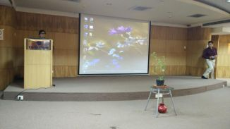 The air-conditioned KSPCB auditorium where the meet on mitigating climate change was held yesterday.