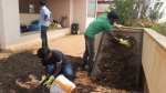 Workers sieve the compost.