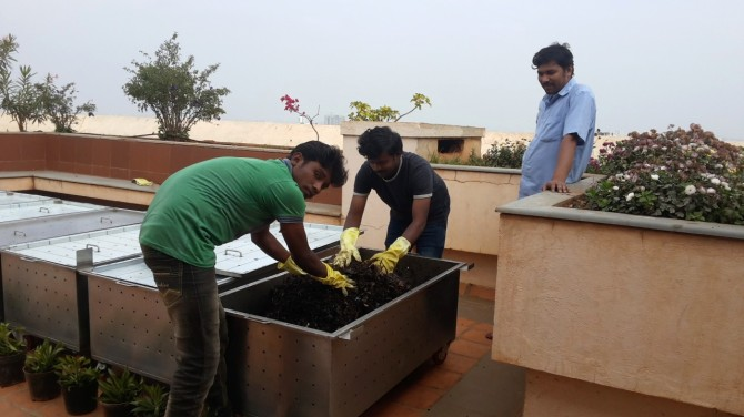 Cassia block of Brigade Millennium in J P Nagar has its own unique steel bins system which has been producing one tonne of compost each month.