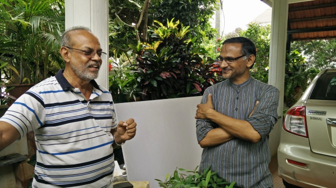 M P Gopinath (left) and K P Singh pioneered various green initiatives for Rainbow Drive along with a few other committed volunteers.