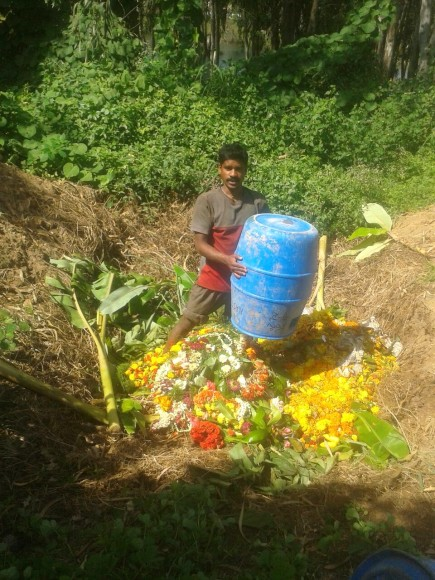 Composting of Ganesha festival near a lake in Yelahanka. It tells us clearly the value of segregated waste.