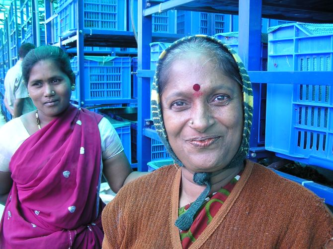 (L to R) Shanthamma and Krishnaveni at Purva Venezia composting unit. The true green champions!