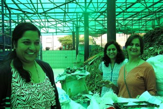 (From L to R) Green champions of Purva Venezia, Yelahanka New Town: Geetha Karthik, Vinuta Kadakol and Padma Patil. This team of 9 volunteers manages waste coming from 1,000 houses.