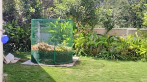 This leaf composter from Shudh-Labh takes care of garden waste.