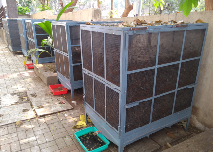 Composting cages at Kalpataru 5&6